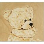 tableau enfant bébé ours en peluche beige marron taupe petit ange décoration mixte fille garçon AF ZOOM