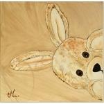 tableau enfant bébé lapin en peluche beige taupe marron chocolat décoration mixte fille garçon cache cache AF