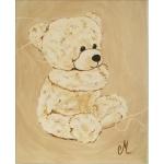 tableau enfant bébé ours en peluche beige marron taupe petit ange décoration mixte fille garçon AF 2