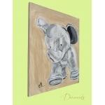 tableau enfant bébé éléphant thème jungle gris beige marron mixte décoration profil 2