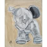 tableau enfant bébé éléphant thème jungle gris beige marron mixte décoration 2 AF