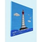 tableau enfant bébé le phare thème mer marine plage rouge bleu garçon décoration profil