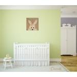 Tableau enfant bébé lapin peluche coucou beuh beige marron taupe mixte fille garçon décoration chambre vert bleu rose vert 2