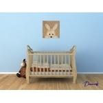 tableau enfant bébé lapin en peluche coucou beuh beige taupe marron fille garçon mixte décoration sF peint à la main chambre bleu2