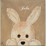 tableau enfant bébé lapin en peluche beige taupe marron chocolat décoration mixte fille garçon sf coucou beuh af prénom 2