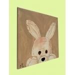 tableau enfant bébé lapin en peluche beige taupe marron chocolat décoration mixte fille garçon sf coucou beuh profil