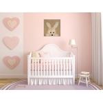 tableau enfant bébé lapin en peluche coucou beuh beige taupe marron fille garçon mixte décoration sF peint à la main chambre rose2