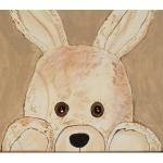 tableau enfant bébé lapin en peluche beige taupe marron chocolat décoration mixte fille garçon sf coucou beuh af zoom