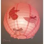 lampe suspension abat jour oiseau printemps nature rose pale rond allumée