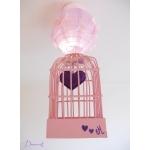 lustre suspension abat-jour lampe luminaire coeur violet parme rose chambre décoration fille allumée