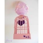 lustre suspension abat-jour lampe luminaire coeur violet parme rose chambre décoration fille