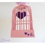 lustre suspension abat-jour lampe luminaire coeur violet parme rose chambre décoration fille zoom