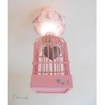lustre suspension abat-jour lampe luminaire coeur gris rose chambre décoration fille allumée