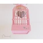 lustre suspension abat-jour lampe luminaire coeur gris rose chambre décoration fille zoom