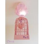 lustre suspension abat-jour lampe luminaire coeur violet parme rose pastel chambre décoration fille allumée