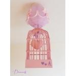 lustre suspension abat-jour lampe luminaire coeur violet parme rose pastel chambre décoration fille