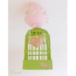 lustre suspension abat-jour lampe luminaire coeur vert d'eau et  rose chambre décoration fille
