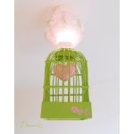 lustre suspension abat-jour lampe luminaire coeur vert deau et  rose chambre décoration fille allumée