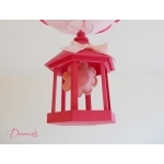 lustre suspension lampe luminaire abat jour fille cage fleur nature rose fuchsia pastel originale zoom