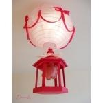 lustre suspension lampe luminaire abat jour fille cage fleur nature rose fuchsia pastel originale décoration allumée