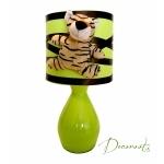 lampe de chevet enfant bébé tigre  jungle vert anis marron chocolat