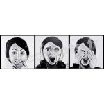 tableau deco design contemporain visage femme noir et blanc moderne trois singes