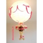 lampe montgolfière enfant bébé lapin rose fuchsia blanc 3