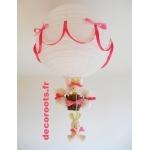 lampe montgolfière enfant bébé lapin rose fuchsia blanc