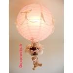 lampe montgolfière bébé rose et beige fille
