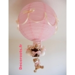 lampe montgolfière fille beige rose