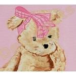 tableau enfant bébé fille ours rose beige 3 zoom