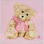 tableau enfant bébé fille ours rose beige AF