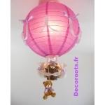 lampe montgolfière violet allumée