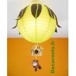 lustre jungle vert anis marron chocolat singe 3 allumée