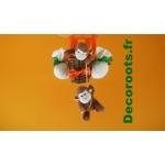 lampe montgolfière bébé jungle singe orange vert zoom