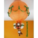lampe montgolfière bébé jungle singe orange vert