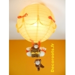 lampe montgolfière bébé jungle singe orange jaune allumée