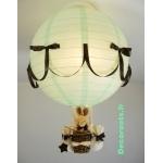 lampe montgolfière enfant lapin vert deau marron chocolat allumée