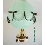 lampe montgolfière enfant lapin vert d'eau marron chocolat