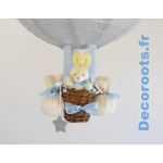 lampe montgolfière bébé lapin gris et bleu ciel pastel zoom