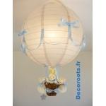 lampe montgolfière bébé lapin gris et bleu ciel pastel allumée