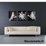 tableau déco design contemporain homme femme tache peinture crie noir et blanc la colère pêchés capitaux