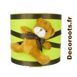 lampe de chevet enfant bébé ours thème forêt vert anis marron chocolat Zoom