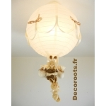 lampe montgolfière enfant bébé lapin beige allumée
