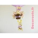 lampe montgolfière enfant bébé lapin rose et lila parme violet pastel zoom