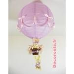 lampe montgolfière enfant bébé lapin rose et lila parme violet pastel