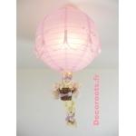 lampe montgolfière enfant bébé lapin rose et lila parme violet pastel allumée