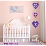 porte manteau coeur rose violet prune décoration murale tableau