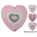 Décoration murale porte manteau coeur fille rose et gris 2