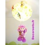 lustre suspension poupée balançoire papillon nature violet jaune orange vert allumée